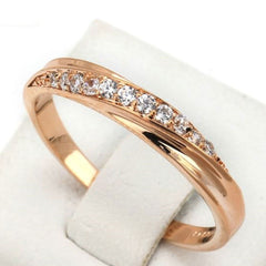 Shopping Mania Gold Plated Rhinestones Studded Wedding Ring