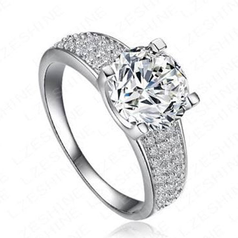 Shopping Mania Platinum Plated Swiss Cubic Zircon Ring