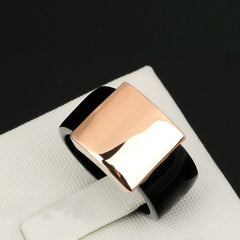 Shopping Mania Black & Golden Titanium Ring