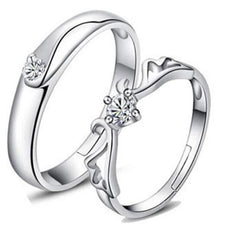Shopping Mania Heart Shape Silver Plated Lovers Crystal Couple Ring