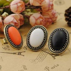 Shopping Mania Pack Of 3 Oval Gem Retro Ring