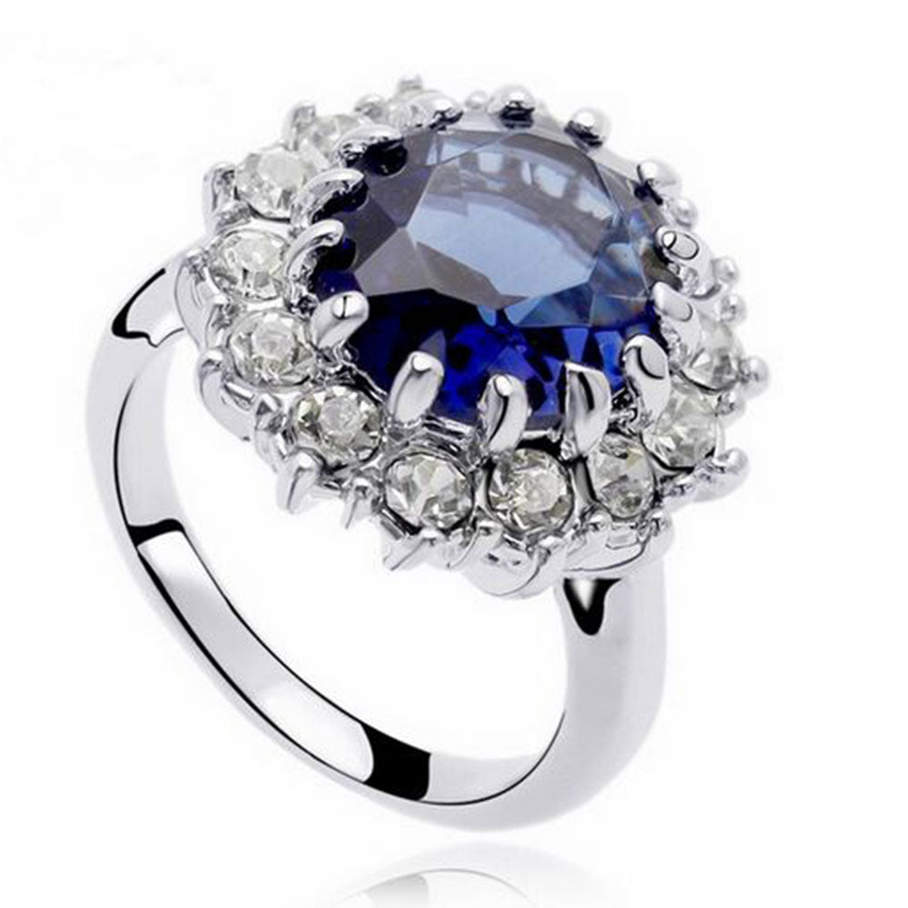 Shopping Mania Platinum Plated Blue Pearl Ring