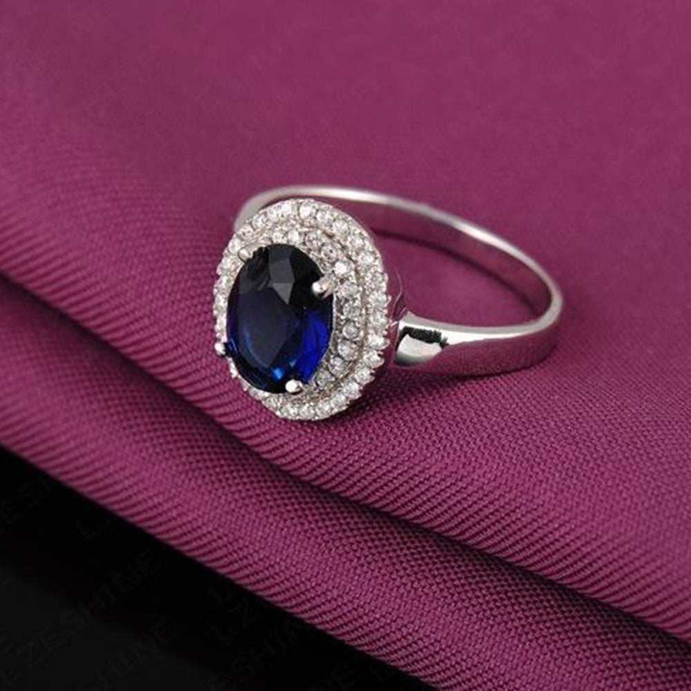 Shopping Mania Swiss Cubic Zircon Blue Ring