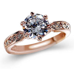 Shopping Mania Zircon Rose Gold Pearl Ring