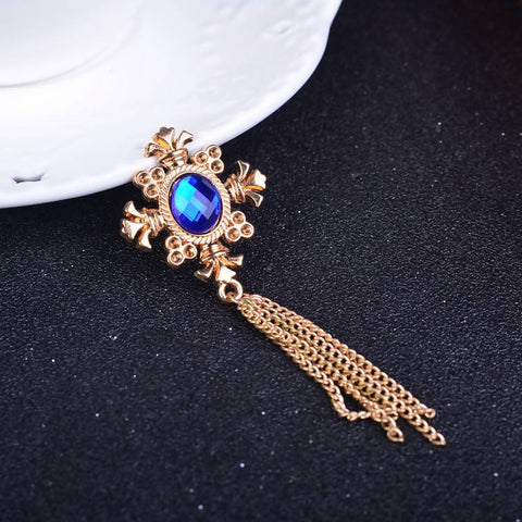Blue Crystal stone chain men brooch coat pin lapel pin