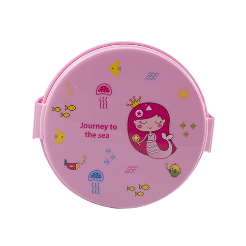 Leakproof 2 Compartment Lunch Box With Spoon and Fork - Round - Pink