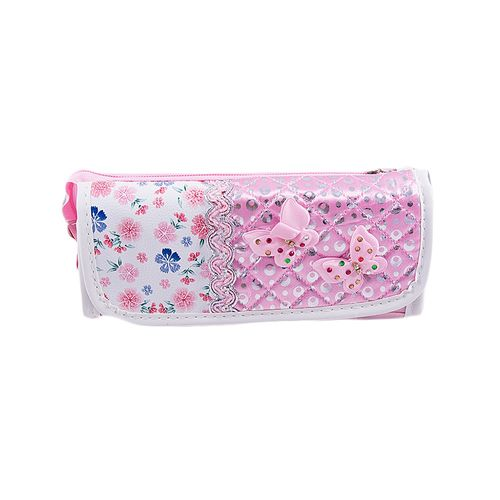Large Capacity Pencil Box Stationary Pouch Pen Case - Butterflies and Flowers - Pink