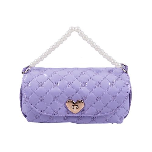 Large Capacity Pencil Box Stationary Pouch Pen Case - Baby Clutch With Pearls - Purple
