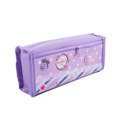 Large Capacity Pencil Box Stationary Pouch Pen Case - Abstract - Purple