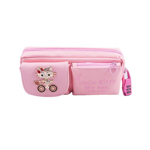 Large Capacity Pencil Box Stationary Pouch Pen Case - Kitty Cycle - Pink