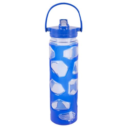 Plastic Water Bottle With Ice Bar Straw and Handle - Good Quality - Blue