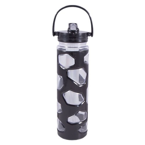 Plastic Water Bottle With Ice Bar Straw and Handle - Good Quality - Black