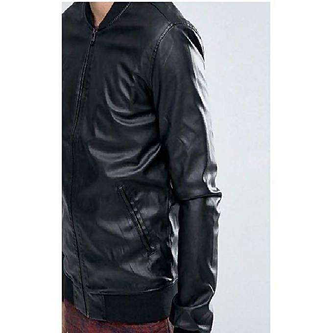 Men's Slim Fit Pu Black Leather Jacket M5
