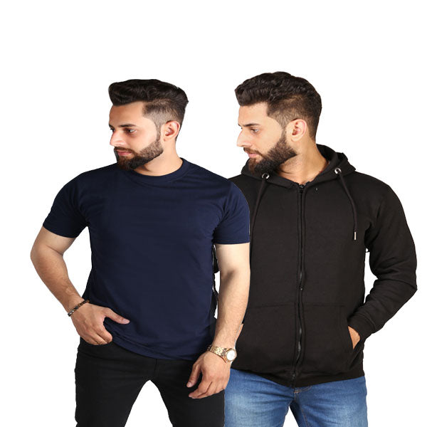 Pack Of 2 Black Zipper And Navy Blue T-shirt - SMD-04