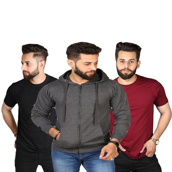 Pack Of 3 Charcoal Zipper And Black Plain T-shirt - SMD-07
