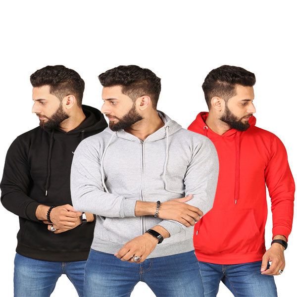 Pack Of 3 Black Kangroo, Red Kangroo, Hazer Grey Zipper - SMD-09