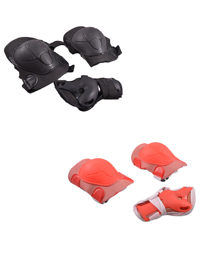 Pack of 4 Soft Adjustable Knee and Elbow Protection Pads for Skating Football etc (High Quality) - Multicolour  SP-302