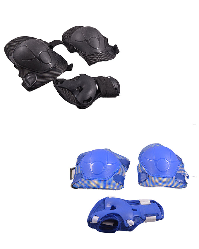 Pack of 4 Soft Adjustable Knee and Elbow Protection Pads for Skating Football etc (High Quality) - Multicolour SP-303