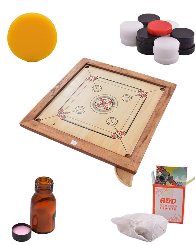 Set of 5 Good Quality Carrom Board, Goti, Striker, Carrom Powder and Carrom Friction Reducer - 33 Inch  SP-309