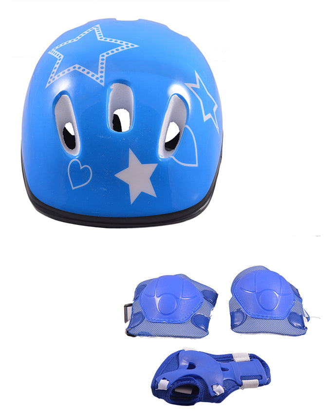 Pack of 3 Soft Adjustable Knee and Elbow Protection Pads with Head Protection Helmet for Skating Football etc (High Quality) - Blue  SP-311