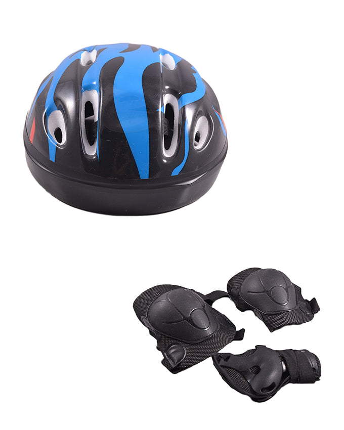 Pack of 3 Soft Adjustable Knee and Elbow Protection Pads with Head Protection Helmet for Skating Football etc (High Quality) - Black SP-313