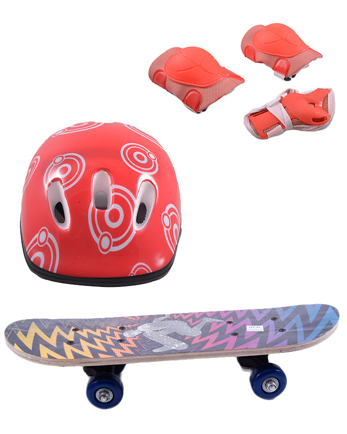 Pack of 4 High Quality Skate Board(5 Inch x 17 Inch), Head Protection Helmet and Adjustable Knee and Elbow Protection Pads - Multicolour  SP-325