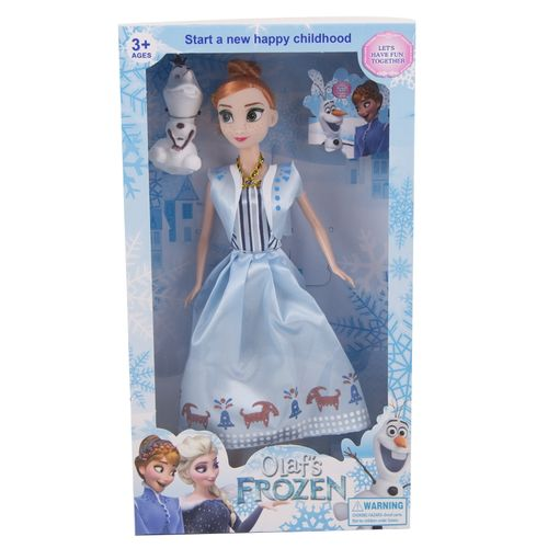 Pack of 2 - Beautifuly Dressed Frozen Doll With Snowman - 12x7 Inch Box