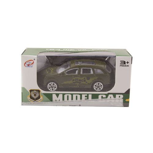 Die Cast Metal Police Roll Back Car - Green - B
