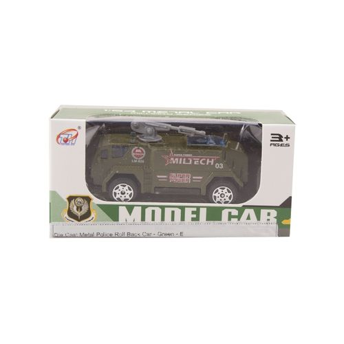 Die Cast Metal Police Roll Back Car - Green - E