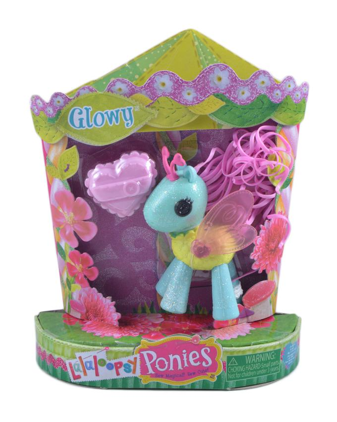 Pack of 2 - Glitter Pony Figure Toy For Kids - 5.5 Inch Box - Neon