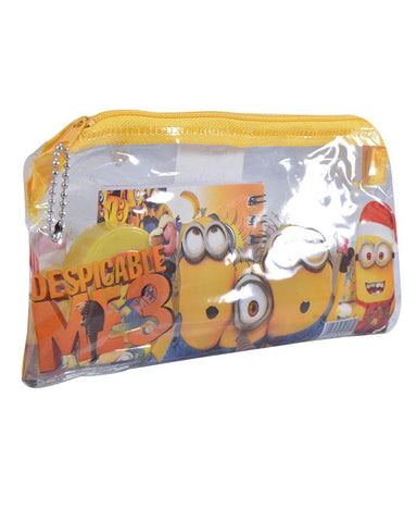 Good Quality Cartoon Character Pencil Box Gift For Kids (Box/ 2 Pencils/ 1 Notebook/ 1 Sharpener/ and 1 Scale) - Minnions