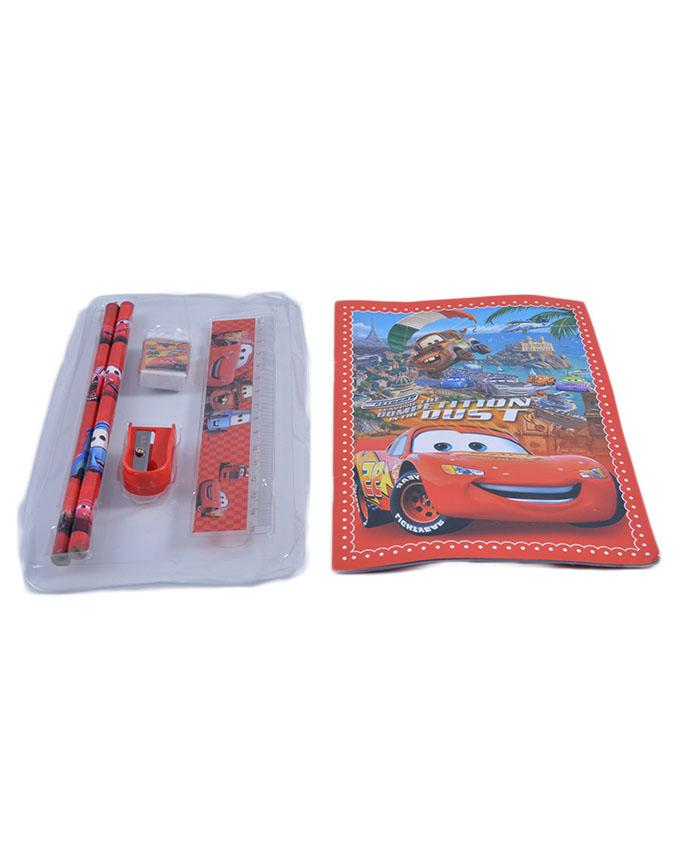 Good Quality Cartoon Character Pencil Box Gift For Kids (Box/ 2 Pencils/ 1 Notebook/ 1 Sharpener/ and 1 Scale) - Cars - 8x12 Inch Bag