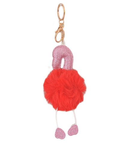 Soft Fluffy and Hairy Keychain - Red (5 Inch Height, 2.5 Inch Width)- Red