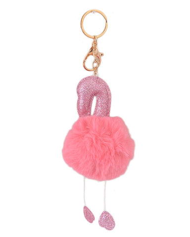 Soft Fluffy and Hairy Keychain - Pink (5 Inch Height, 2.5 Inch Width)- Pink