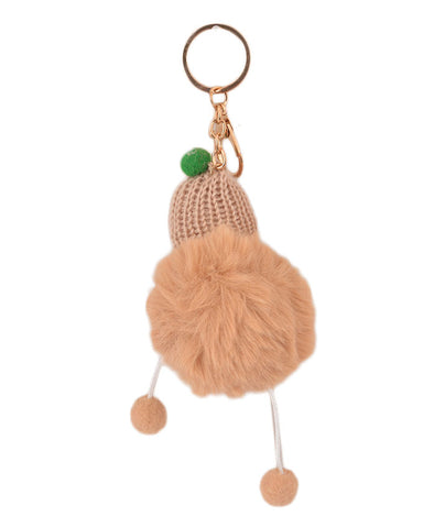 Fluffy and Hairy Keychain with Cute Baby Figure - Brown (4 Inch Height, 3 Inch Width)- Brown
