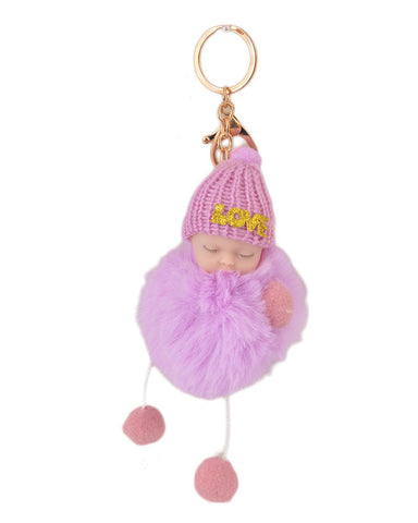 Fluffy and Hairy Keychain with Cute Baby Figure - Purple (4 Inch Height, 3 Inch Width)- Purple