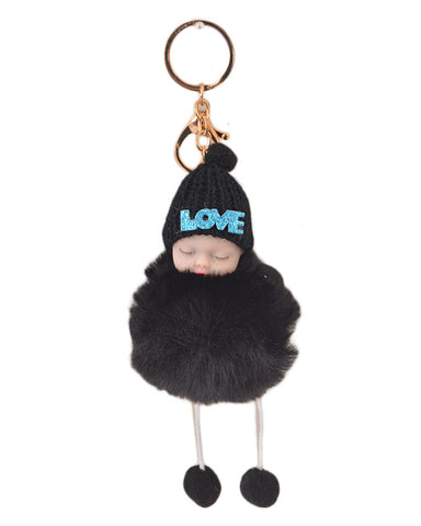 Fluffy and Hairy Keychain with Cute Baby Figure - Black (4 Inch Height, 3 Inch Width)- Black
