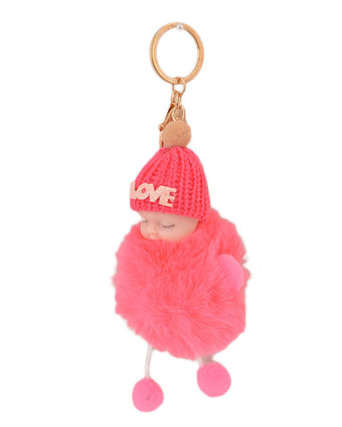 Fluffy and Hairy Keychain with Cute Baby Figure - Pink (4 Inch Height, 3 Inch Width)- Pink