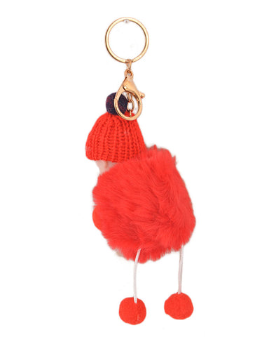 Fluffy and Hairy Keychain with Cute Baby Figure - Red (4 Inch Height, 3 Inch Width)- Red