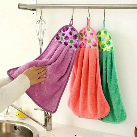 Pack of 3 - Coral Fleece Kitchen / Bathroom Hanging Towel - 15 x 8 inches - Multicolor - 2488