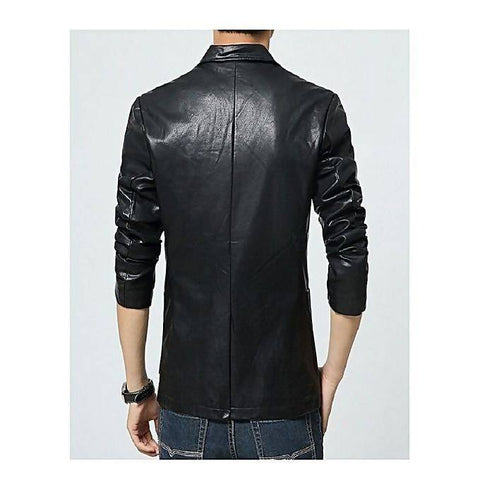 Men's Slim Fit Pu Leather Black Coat MB75