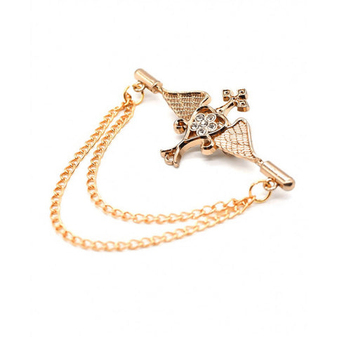 High-Grade Angel Wings Cross Long Chain Male Brooch