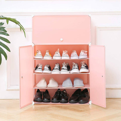 6-Tier DIY Space Saving Shoe Rack Organizer Units, Storage Cabinet Rack with Doors - 2471-C