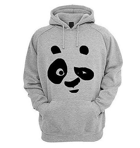BuySense Hazel Grey Fleece Panda Printed Hoodies For Women