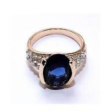 Blue Gemstone Gold Platted Rings Fro Women