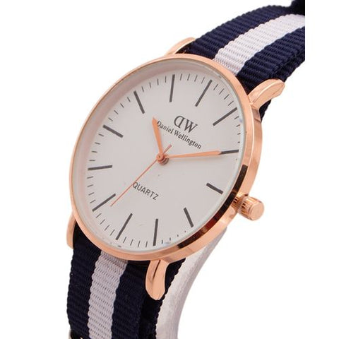 Golden Dial Watch For Men and Women White and Blue W-132