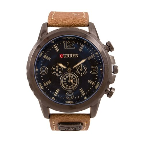 Sleeky Black Dial Watch For Men - Light Brown W-143