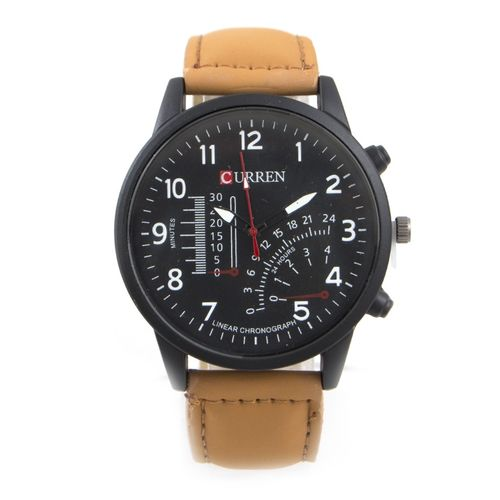 Sleeky Black Dial Watch For Men - Brown W-145