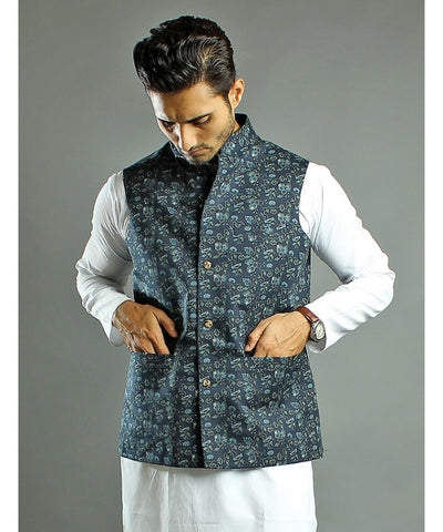 Blue Floral Printed Waistcoat for Men-WC-05