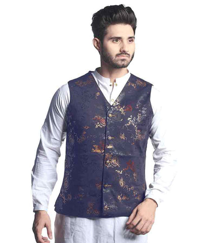 NAVY BLUE TWO TONED WAISTCOAT-WC-09